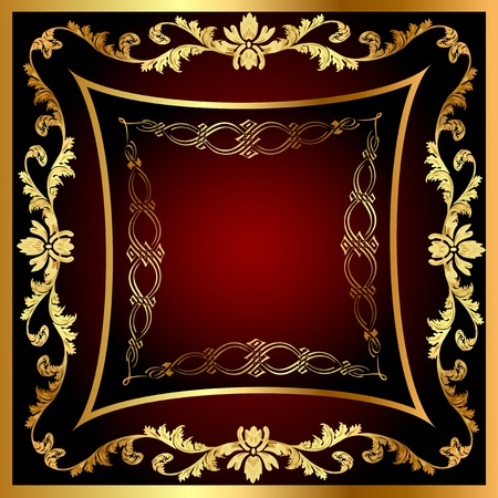 illustration  frame with vegetable gold(en) pattern Vector
