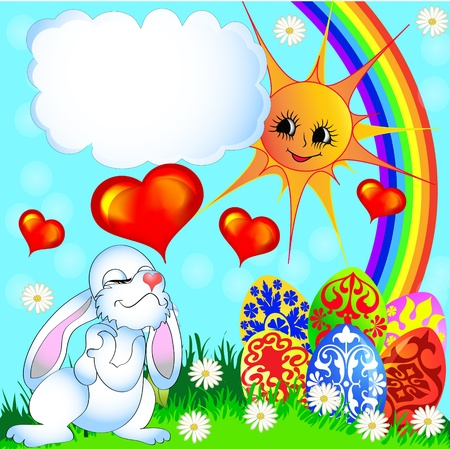 illustration easter background with egg and amusing rabbit and rainbow Stock Vector - 12822401