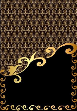 luxurious background: illustration vertical vintage label with spiral gold(en) pattern
