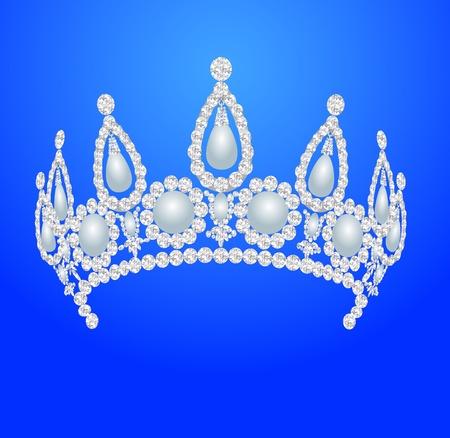 rhinestone: illustration beautiful diadem feminine wedding with pearl Illustration