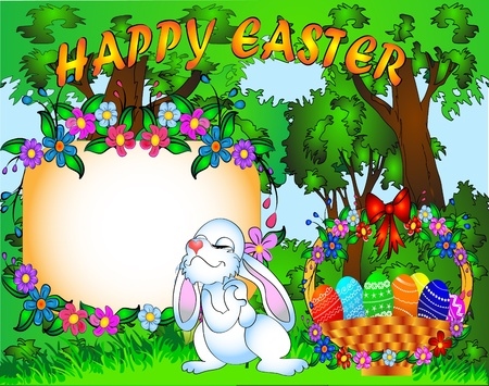 illustration easter background with egg and amusing rabbit Vector