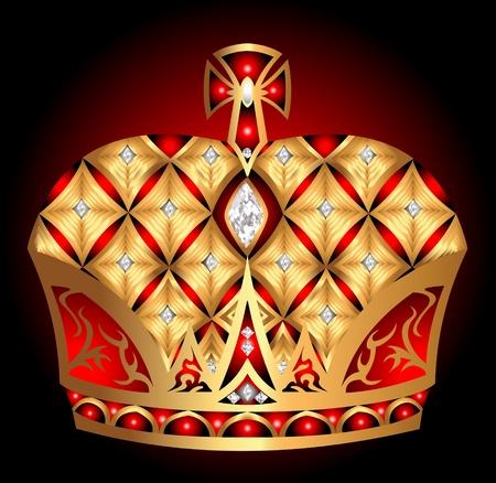 gold en: illustration gold en  royal crown insulated on black background