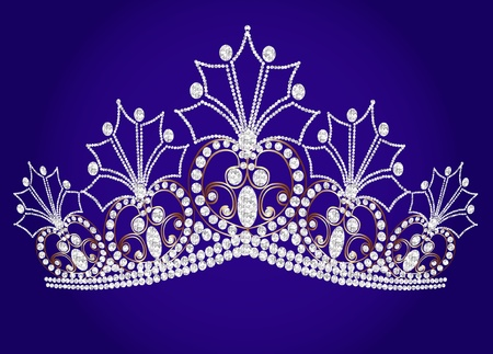illustration beautiful diadem feminine wedding on we turn blue background Vector