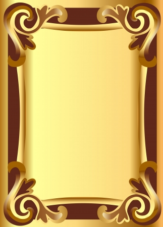 illustratie goud en achtergrond frame met plantaardige ornament