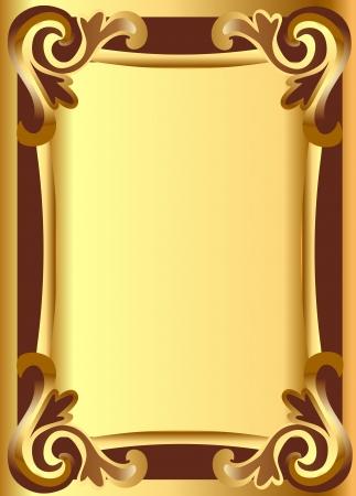 illustration gold en  background frame with vegetable ornament