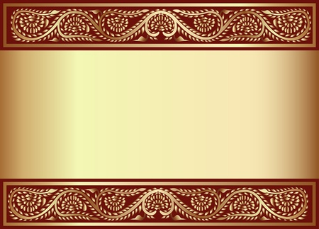 golden frames: illustration gold en  background with band of the vegetable pattern Illustration