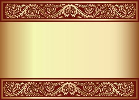dorato: illustrazione in oro en sfondo con la fascia del modello vegetale