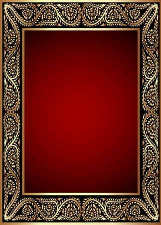 illustration gold en  frame with band of the vegetable pattern Vector