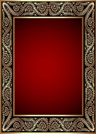 fancy border: ilustraci�n de oro en marco con la banda del patr�n de vegetales Vectores