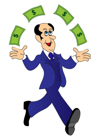 illustration businessman runs and throws money Stock Vector - 13006173