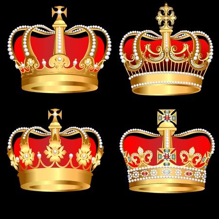 imperial: illustration set gold  crowns on black background Illustration