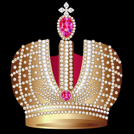 corona reina: ilustración de oro (en) la corona real con Ruby