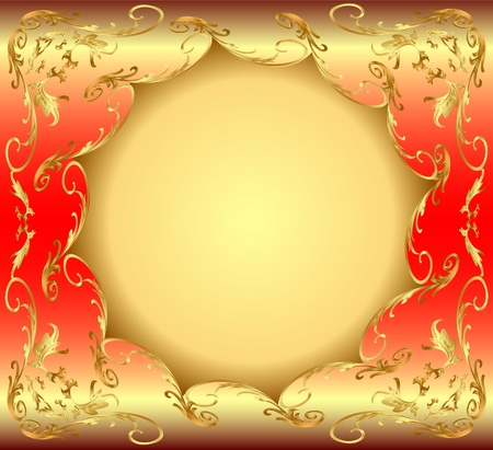illustration background frame with circular gold(en) drawing Vector