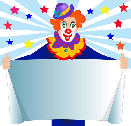 performers: illustration merry clown keeps paper for message