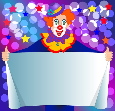 illustration amusing clown keeps paper for invitation Vector