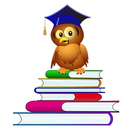 storytelling: illustration owl in hat sits on pile of the books Illustration