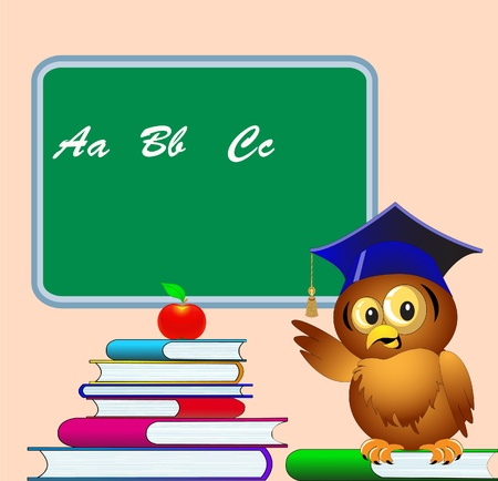 storytelling: illustration owl points to school board on pile of the books apple
