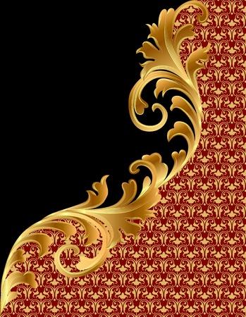 Abbildung schwarzen Hintergrund mit Gold (de) Ornament