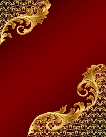 illustration brown background with gold(en) ornament Vector