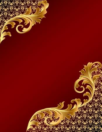 border frame: illustration brown background with gold(en) ornament