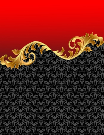 illustration red background with gold(en) ornament Vector