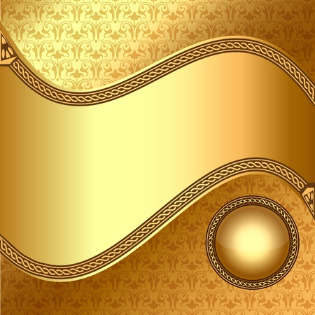 illustration gold(en) background with wave and ball with ornament