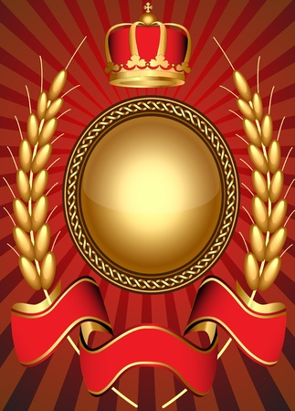 Golden vintage background template and crown Vector