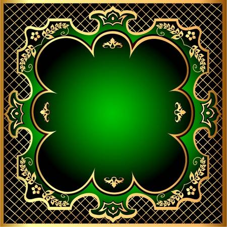 illustration green background frame with gold(en) pattern m net