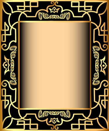 illustration background frame with gold(en) pattern and crown Vector