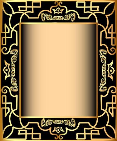 style wealth:  illustration background frame with gold(en) pattern and crown Illustration