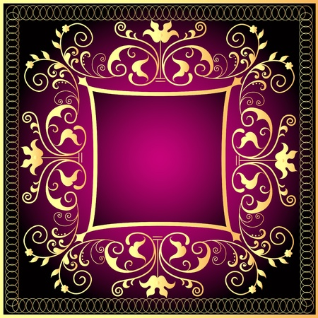 fleur:  illustration violet background frame with gold(en) pattern Illustration