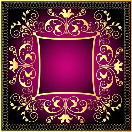 style wealth:  illustration violet background frame with gold(en) pattern Illustration