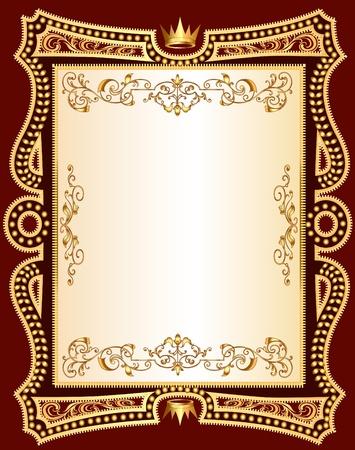 illustration brown background frame with gold(en) pattern