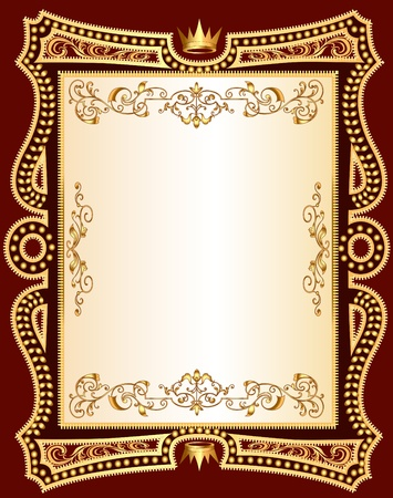 medieval banner:  illustration brown background frame with gold(en) pattern