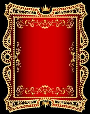 illustration red background frame with gold(en) pattern Vector