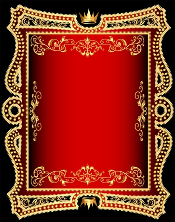illustration red background frame with gold(en) pattern Vector