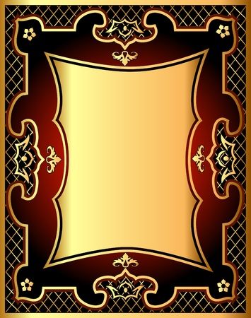 illustration red background frame with gold(en) pattern and net Vector