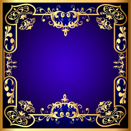 black textured background:  illustration blue frame with vegetable gold(en) pattern