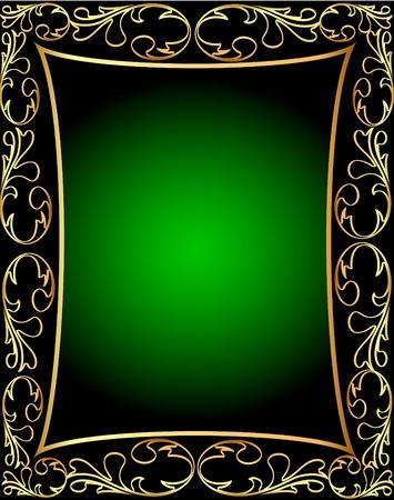 black silk: illustration by green frame with vegetable pattern Illustration