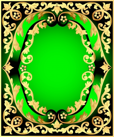 illustration green background with frame with vegetable gold(en) pattern Vector