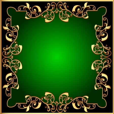 illustration black background with green frame with gold(en) pattern Vector