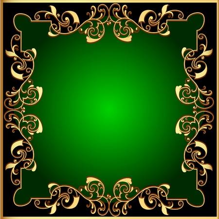 illustration black background with green frame with gold(en) pattern Vector