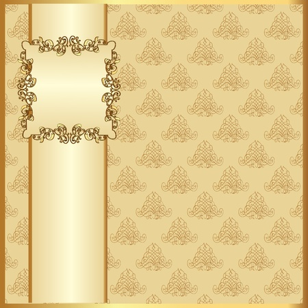 menu card design: illustration seamless light background with band and frame with gold(en) pattern