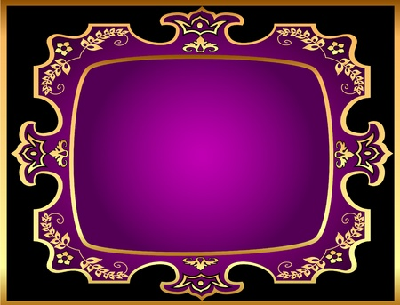 illustration black background with violet frame with gold(en) pattern Vector