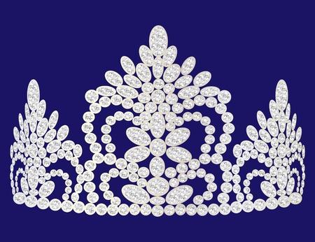 rhinestone: illustration beautiful diadem feminine wedding on we turn blue background Illustration
