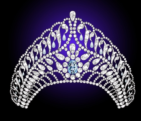 Illustration wedding diadem with blue stone Vector