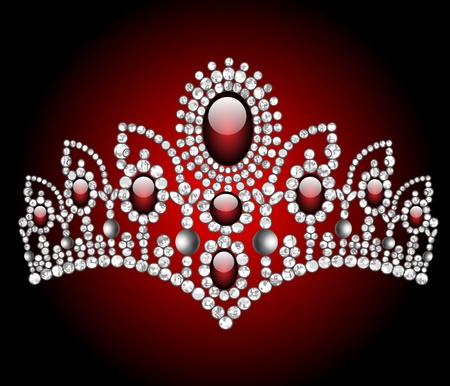 Illustration wedding diadem with red stone Vector