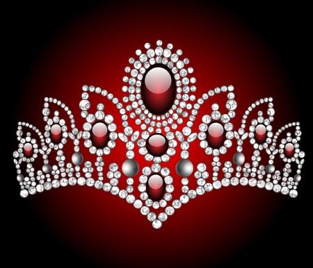 royal person: Ilustraci�n de la boda con diadema de piedra roja