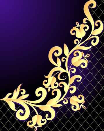 illustration violet background frame with vegetable gold(en) pattern and net Vector