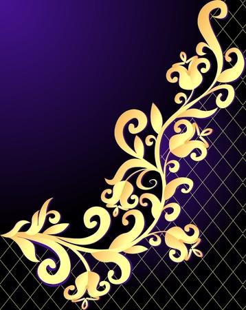 illustration violet background frame with vegetable gold(en) pattern and net Stock Vector - 13550073